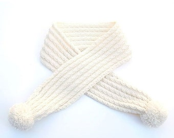 15% OFF SALE: Merino Wool Cable Scarf with Pompoms. Child / Baby. Hand Knit. Soft Cream / Ivory White. Fall / Winter.