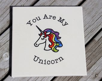 "Rainbow Unicorn Framed Artwork with Embroidered Text, ""You Are My Unicorn"", Rainbow Unicorn Wall Decor"