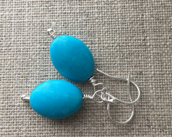 Turquoise Earrings. Blue Turquoise Bead Earrings. Sterling Silver Earrings. Modern Earrings. Gift For Her. UK Seller