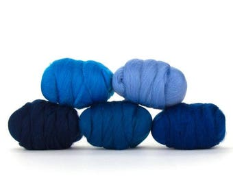 ON SALE Delta Blues Merino Variety Pack - 5 Colors - 50 grams per color = 250 Grams or 8.8 oz total to Spin, Felt, Create Fiber Art