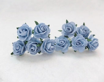 10 25mm cool blue mulberry roses