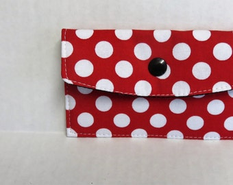 Mini Wallet - Gift Card Holder - Debit Credit Card Case -  Business Card Case  - Snap Closure - White Dots on Red Fabric