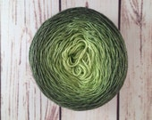 SW merino, silk long gradient, 50/50 SW merino/silk, grass green to celery