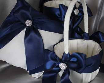 2 White or Ivory Flower Girl Baskets and 1 Pillow Ring Bearer Pillow-Navy-Custom Ribbon Colors-Size for Age 4-7