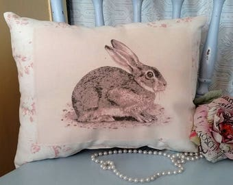 Vintage Inspired Bunny Rabbit Pillow with Roses, Shabby Chic Cottage Decor, Bedroom Decor, Gift Pillow