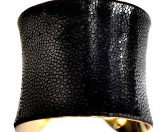 Black Polished Stingray Shagreen Gold Lined Cuff Bracelet - by UNEARTHED