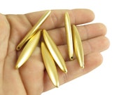 Vintage Matte Gold Plated Oval Stick Pendants (2x) (V268)