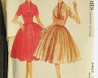 1960s Vintage Sewing Pattern McCalls 5403 Misses Dress Pattern Size 12 Bust 32