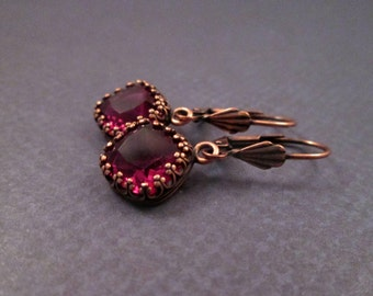 Glass Stone Earrings, Berry Red Gems and Copper Dangle Earrings, FREE Shipping U.S.