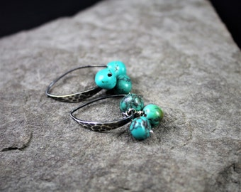 Turquoise And Sterling Silver Hammered Earrings