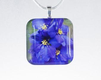 Purple Flowers Glass Photo Pendant