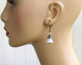 White Lucite Flower Earrings, Antique Brass Leverbacks, Swarovski Crystals and Glass Romantic Floral Jewelry, Wedding Bells