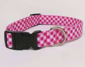 Cross Hatch in Pink and White Printed Handmade Dog Collar