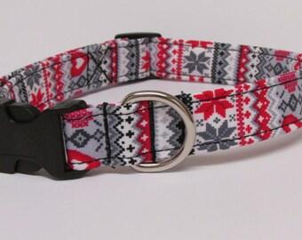 Fair Isle Nordic Heart Grey/Gray & Red Printed Handmade Dog Collar