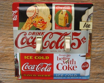 Coke Coca Cola Collectibles Double Light Switch Cover Switchplate Cover Plate Plates Made From An Old Tin SP-0361