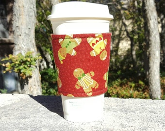FREE SHIPPING UPGRADE with minimum -  Fabric coffee cozy / cup holder / coffee sleeve - Holiday Christmas Red Gingerbread Men