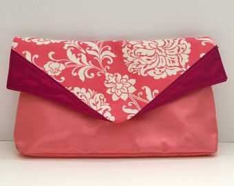 Coral Damask Canvas Organza Envelope Clutch