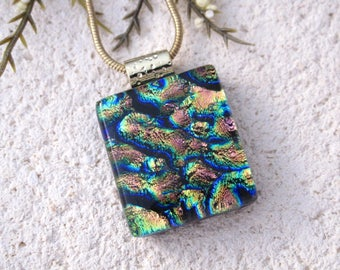 Petite Pink Blue Necklace, Rainbow Necklace, Fused Glass Jewelry, Dichroic Glass Necklace, Dichroic Pendant, Dichroic Jewelry,  032017p100
