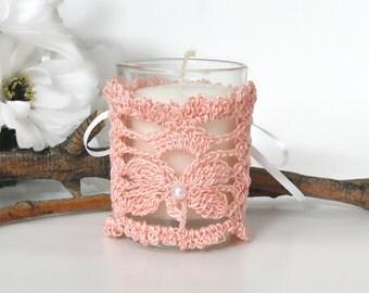 Lace Crochet Candle Votive Wrap, Corset Style, Peach Butterfly