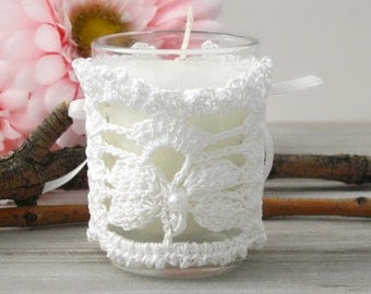 White Lace Votive Candle Corset Wrap, Butterfly Lace Wedding Votive Candle Sleeve