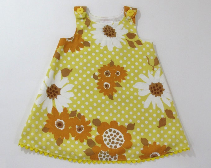 Yellow Sunflower Girls Dress, Toddler Dress, Girls Pinafore, Girls Sundress from Vintage Fabric, Yellow Dress, Size 18 Month, 2T, 3T