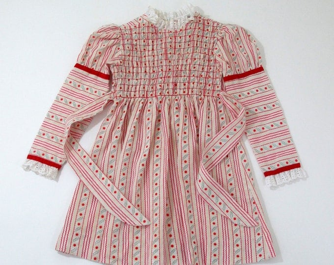 Girls' Vintage Dress, Smocked Red & White Stripes with Flocked Daisies, Long Sleeve Dress w/ Red Velvet Ribbon, Youngland,  Size 10 Girls'