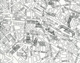Timeless Treasures Paris Map OOP Fabric in White - Half Yard