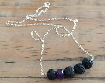 lava bead diffuser necklace for essential oils with amethyst gemstone - sterling silver
