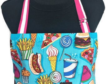 Snack Foods Kitchen Apron , Hamburgers / Pizza / Ice Cream / French Fries / Hot dogs and more on Teal blue background