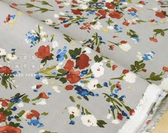 Japanese Fabric brushed twill watercolor flowers - grey - 50cm