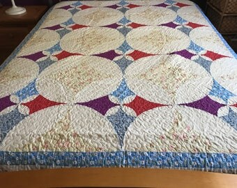 Spring time Sale  Twin  size Log Cabin Patchwork Complete Quilt #