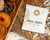 Donut Favor Bag  - Wedding Food Favor - MMM Donuts! - Wax Lined Food Safe Favor Bag - 20 White Doughnut Favor Bags and Stickers included
