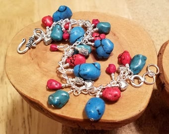 Red and Blue howlite (faux turquoise) cha cha chain bracelet ... and it's adjustable too!