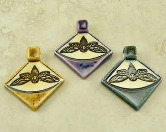 "Small Moth Triangle Pendant - Lepidoptera Butterfly Insect Bug Nocturnal Ivory Brown Clay River Designs 1 1/4"" - I ship Internationally"
