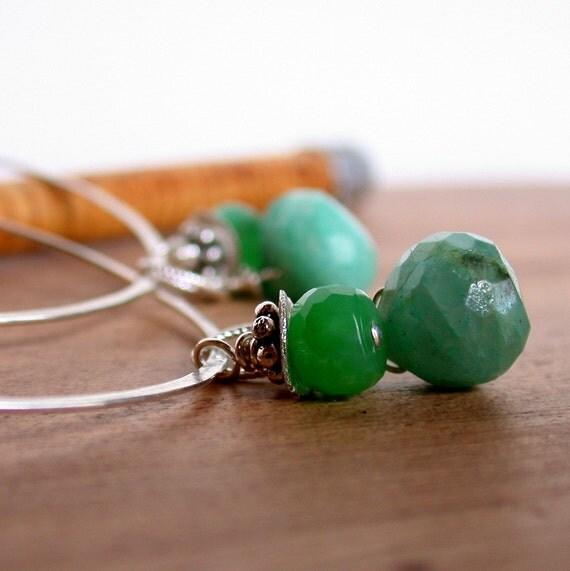 Chrysoprase Gemstone Hoops. Large Round Hoops with Gemstone Drops. Green Gemstone Drops.