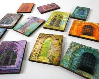 Hot Goth Windows - Collection of 11 Wood Tiles