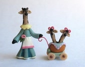 Miniature  Mommy Giraffe With Twins In  Stroller OOAK by C. Rohal