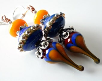 Lampwork Earrings, Blue and Orange, Primary Colors, Silver Earrings, Hot Air Balloons, Summer Jewelry, Beaded OOAK Earrings, Beaded Jewelry