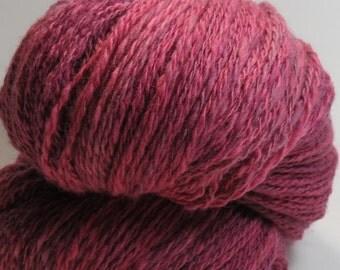 Wine Sunset -- Handspun, Hand dyed, Merino, Silk, 4.3 oz/121 gr, 345 yds/315 m