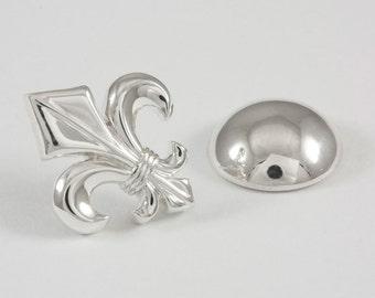 Gothic Fleur de Lis Lapel Pin, Sterling Silver