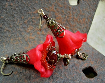 Flamenco Skirts, Red Flower Earrings, Dramatic Statement Earrings, Fire Colors, Gypsy Dancer, Colorful Boho, Elksong Jewelry