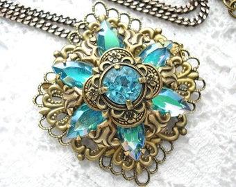 Aquamarine Starflower Brooch Pendant with Chain - Vintage Inspired Antiqued Brass
