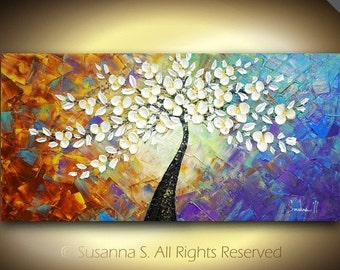 ORIGINAL Abstract Contemporary Fine Art Impasto White Flowers Tree Landscape Multi Colored Modern Palette Knife Painting by Susanna 48x24