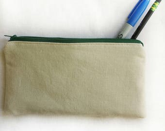 ecru linen unisex zipper pouch, school pencil or art supply bag, perfect for medication or epi-pen, cosmetic makeup travel purse