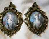 Two Beautiful Victorian Ladies Pictures on Linen in Small Ornate Oval Antique Brass Frames