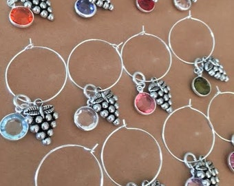 12 Birthstone Grapes Wine Charms Silver Markers Tags Party Favors Gift Idea Glass Merlot Country Accessories Jewelry