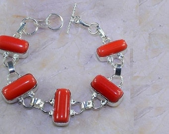 Chunky red coral nuggets bracelet
