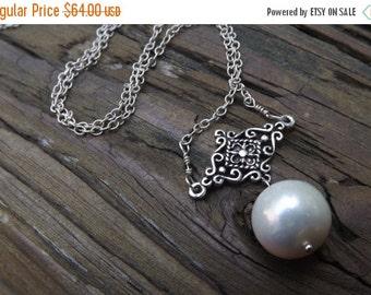 Sea Pearl silver necklace - elegant - handmade - unique designer necklace