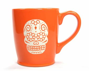 Sugar Skull Mug - Day of the Dead coffee mugs - Choose Your Color