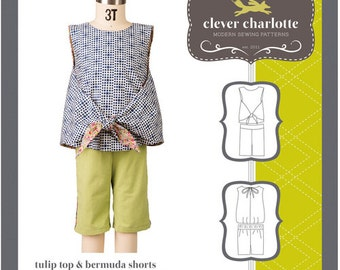 Clever Charlotte PATTERN - Tulip Top & Bermuda Shorts - Sizes 2T-8
